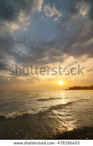 Sunrise slow water / Bright summer sunrise Photo Ukraine