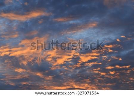 Sunrise - Sunset and cloudy sky. - Background. - stock photo