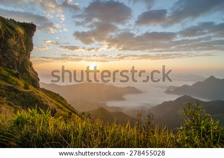sunrise,sunset,phu chi fa,Chiangrai,Thailand - stock photo