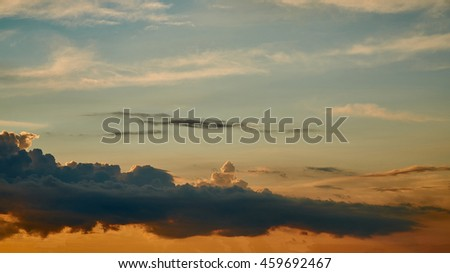 Sunrise / sunset with clouds and sunlight