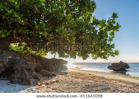 Sunrise view at the Anda White Long Beach at Bohol island of Philippines - stock photo