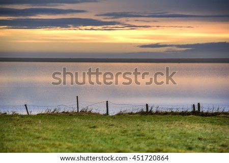 Sunrise View from ring road around Iceland, - stock photo