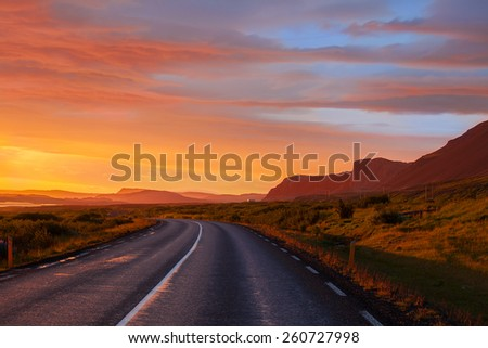 Sunrise View from ring road around Iceland, WestFjords - stock photo