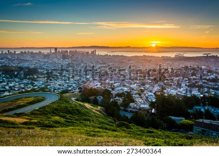Sunrise view from Twin Peaks, in San Francisco, California. - stock photo