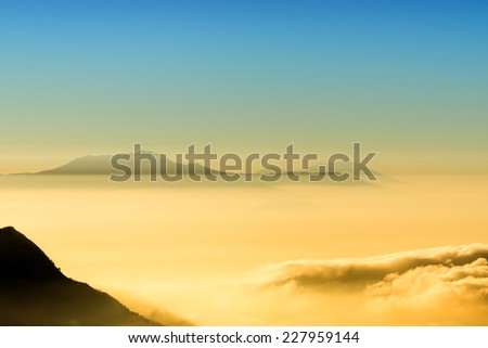 sunrise view of Mount Bromo - stock photo