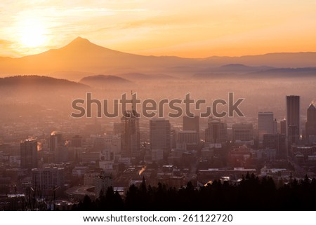 Sunrise View of Portland, Oregon from Pittock Mansion. - stock photo