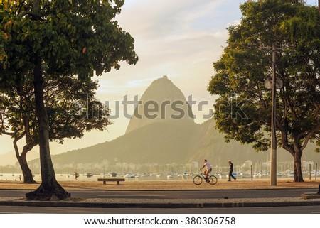 Sunrise view of Rio de Janeiro with mountain Sugar Loaf  - stock photo
