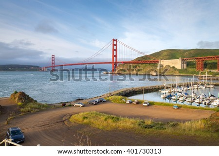 sunrise view of the Golden Gate Bridge, San Francisco (view from Presidio Yacht harbor)