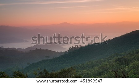 Sunrise view on summit of Monkluy  Hill, Tak province, Thailand
