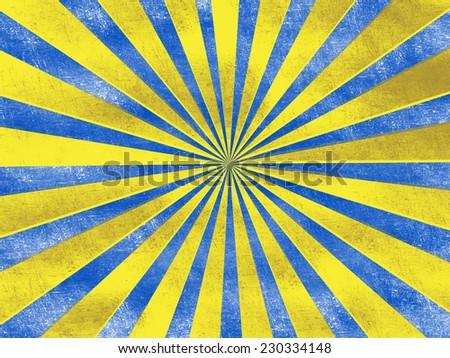 sunrise vintage retro grunge background - yellow and blue - stock photo
