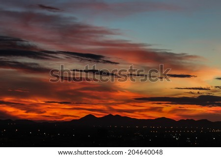 Sunrise with beautiful sky at twilight time - stock photo