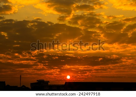 Sunrise with bright colors in clouds, concept for early morning wake up