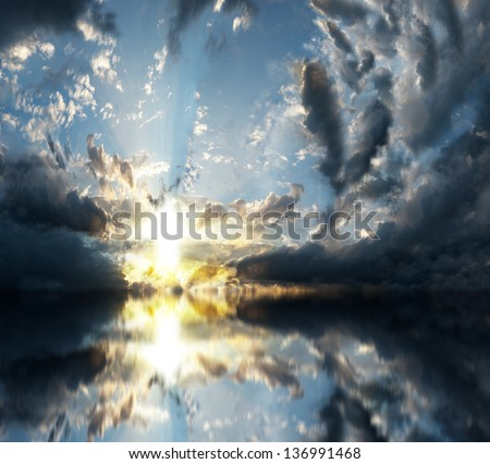 sunrise with clouds - stock photo