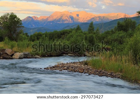 Sunrise with Mount Timpanogos and the Provo River, Utah, USA.