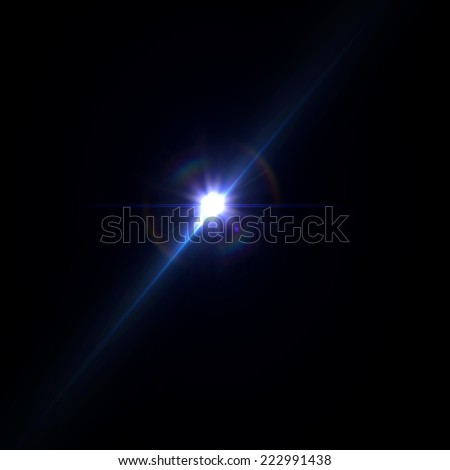 sunrise with rays and lens flare - stock photo