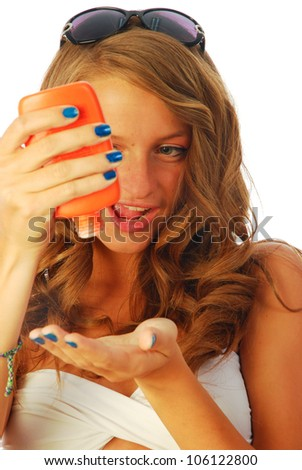 Sunscreen - A woman while spraying a sunscreen 040
