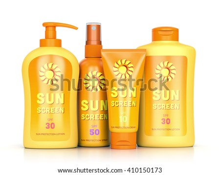 Sunscreen set: sun protection cream, lotion and spray in bottles and tube containers isolated on white background. Summer leisure and sun tanning concept. 3D illustration