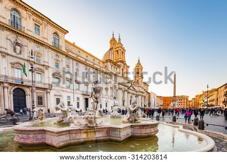 Sunsest at Piazza Navona in Rome, Italy. - stock photo