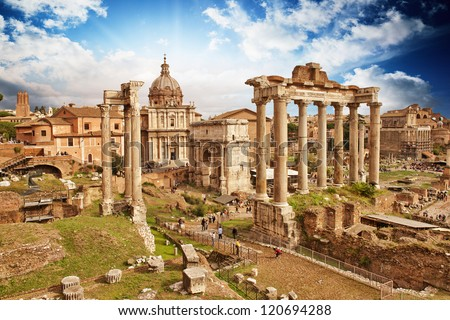 Sunset above Ancient Ruins of Rome - Imperial Forum - Italy - stock photo