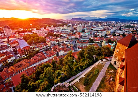 Sunset above Ljubljana aerial view, capital of Slovenia