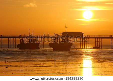 Sunset above the Southend Pier, Southend-on-Sea, Essex, England  - stock photo