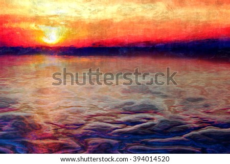 sunset abstract painting, bruning sunset colors reflection on sea waves painting,  - stock photo