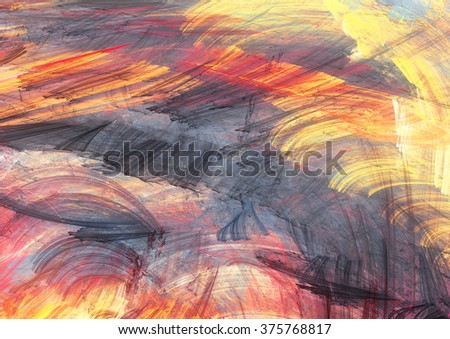 Sunset. Abstract painting color texture. Bright artistic background. Modern multicolor dynamic pattern. Fractal artwork for creative graphic design