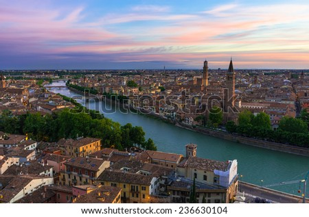 Sunset aerial view of Verona. Italy - stock photo