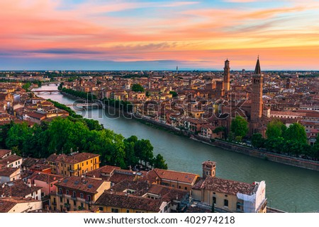 Sunset aerial view of Verona. Italy - stock photo