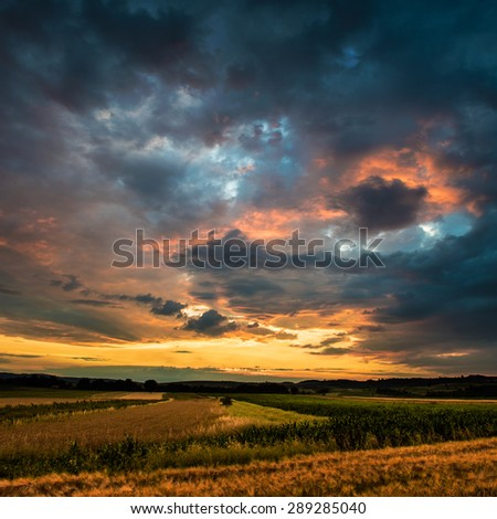 Sunset, agriculture