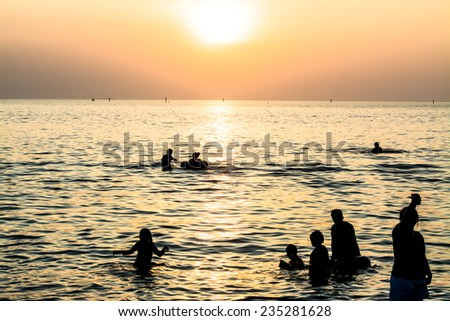 sunset and beach in holiday