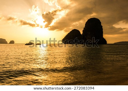 Sunset and beach in Krabi island Thailand - stock photo