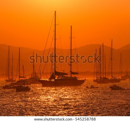 sunset and boats on the sea, Saint Tropez, France