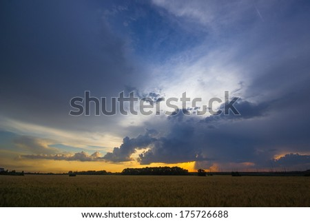 sunset and clouds over the wheat field - stock photo
