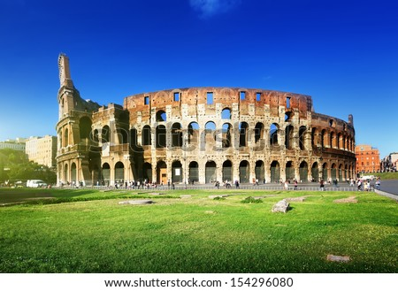 sunset and Colosseum in Rome, Italy  - stock photo