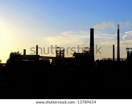 Sunset and mine in Northern Moravia, Czech republic - stock photo