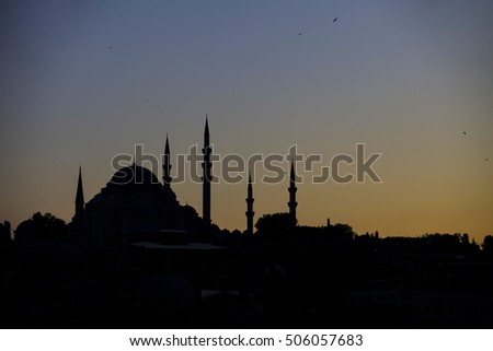 sunset and mosque in Istanbul.