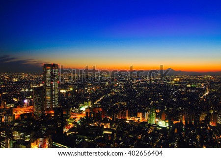 Sunset and night view of Tokyo city with Mt. Fuji.