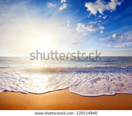 sunset and sea - stock photo