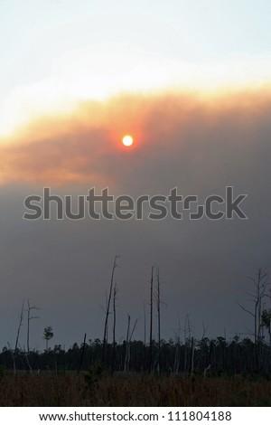sunset and smoke plume - stock photo
