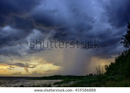 Sunset and Storm in the Upper Peninsula in Michigan. - stock photo