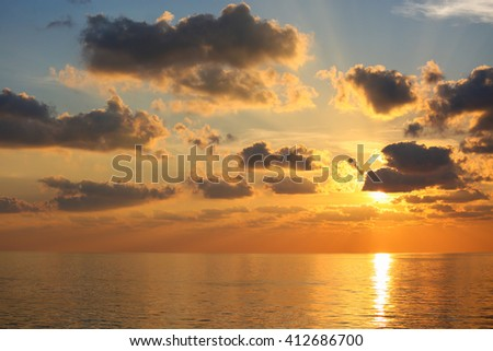 sunset and sunrise time, nature background and empty area for text, feeling love or romantic background in nature. - stock photo