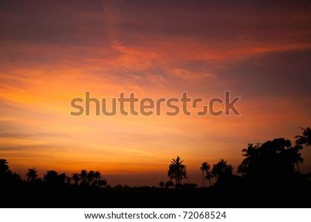 Sunset and twilight - stock photo