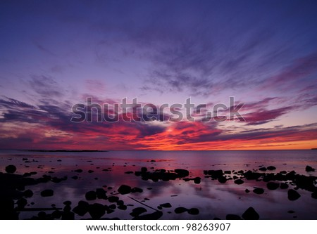 Sunset and White Sea in summer season (Russia)