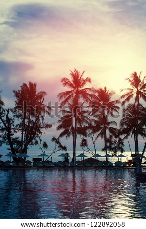 Sunset at a coastline with palm trees, water reflection - stock photo