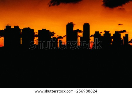 Sunset at a residential Neighbourhood, São Paulo, Brazil - stock photo