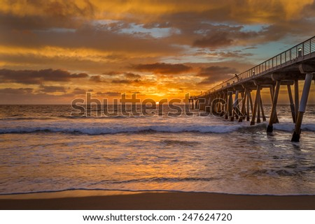 Sunset at a southern California pier. - stock photo
