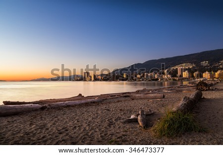 Sunset at Ambleside Park in West Vancouver.