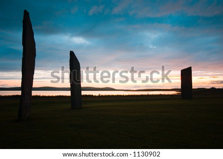 Sunset at ancient standing  Stones of Stennes, Orkney Islands, Scotland. - stock photo
