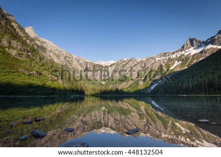 Sunset at Avalanche Lake, Glacier National Park, Montana - stock photo
